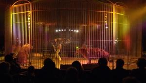 cirque, dompteur dans une cage